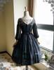 Vintage Silk Dress Floral Ball Dress Summer Midi Dress, Handmade Shoulder Jewelry Chain Set Mint Blue