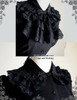 Vintage Short Sleeve Shirt Blouse Jabot Set Retro Fashion White Black Grey