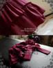 Vintage Corset Dress Strapless Dress Jabot Cravat Corsage Set Burgundy