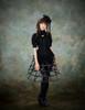 Model View (black version) corset & brooch Y00032N hat P00624 shrug CT00229N birdcage petticoat UN00028