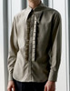 Vintage Men Shirt Long Sleeve Shirt Vintage Aristocrat Fashion Grey Khaki
