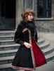 Gothic Vintage Shirt,Bell Sleeves Button Top+Neck Ruffles*black/white On Sale Last Chance