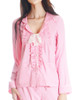 Vintage Preppy 100% Mulberry Silk Shirt Women Pajamas Shirt Sleepwear *Mint Pink