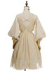Back View  (Antique Ivory + Gold Ivory Mixed Lace Fabric Version) Petticoat UN00026
