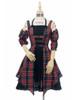 Front View (dark blue & red plaid brushed cotton + black crepe cotton ver.) (birdcage petticoat: UN00027)