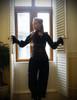 Gothic Vintage Velvet Pleat Ankle Pants*black/champagne