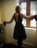 Gothic Vintage Steel Boned Corset+Ruffle Skirt Jellyfish black/grey