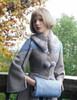 Vintage Wool  handmade Fashion Fur Muffs+Leather Wallet