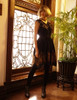Gothic Flare Dress Gold Print Black Capelet Dress +Handmade Choker Exclusive