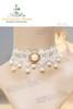 Elegant Pearl Decoration Lace Choker*White