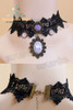 Gothic Elegant Crystal & Flower Relief Decoration Lace Choker*Black