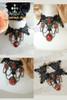 Gothic Elegant Ruby & Chain Pendants Lace Choker*Black