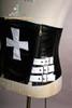 Elegant Gothic Under Bust Steel Boned PU Leather Cross Corset