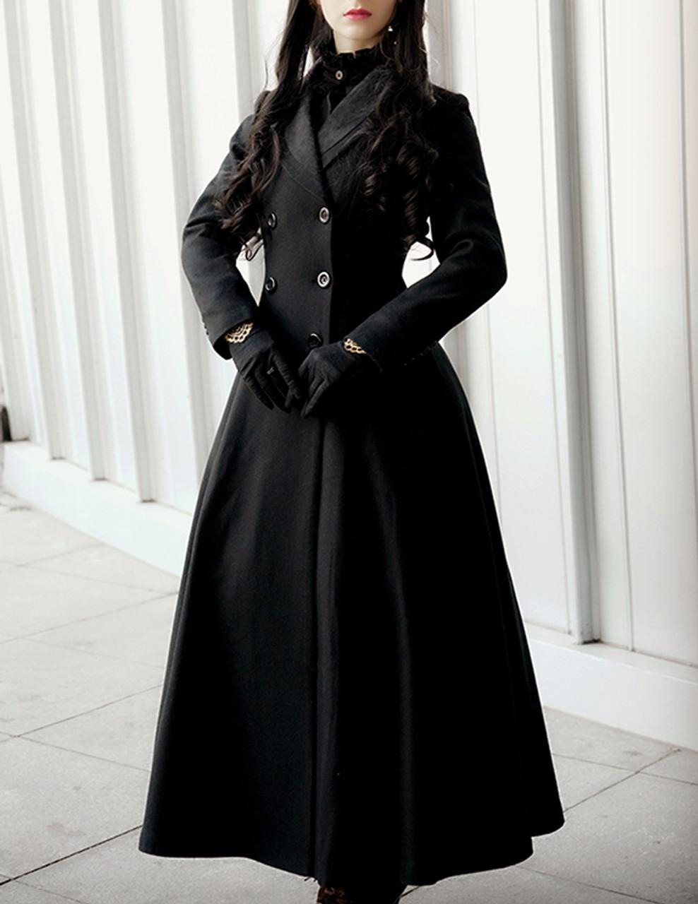 Gothic Aristocrat Wide Skirt Bottom Slim Waist Long Thick Wool Coat