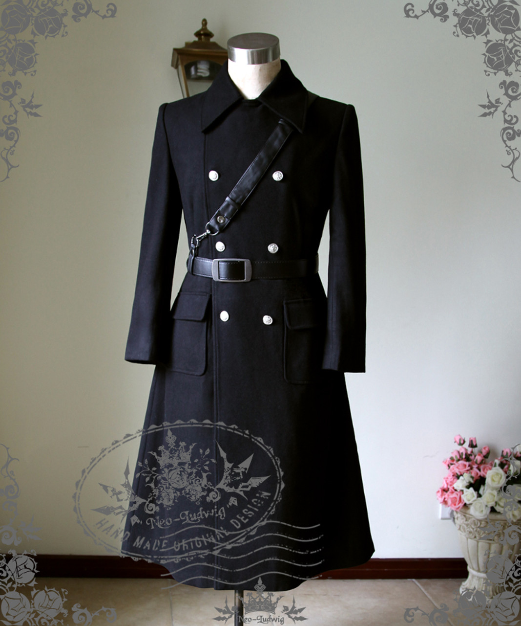 Man Military Gothic Thick Wool Double Breasted Mid-Calf Coat