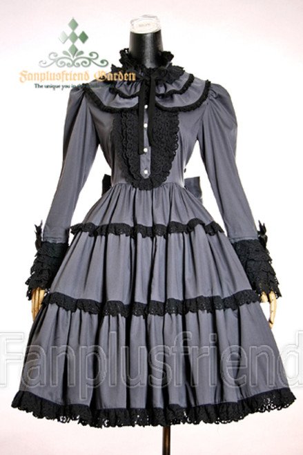 Last Chance: Classic Lolita Luxury Lace Long Sleeves Dress*Lady 85 Grey Instant Shipping