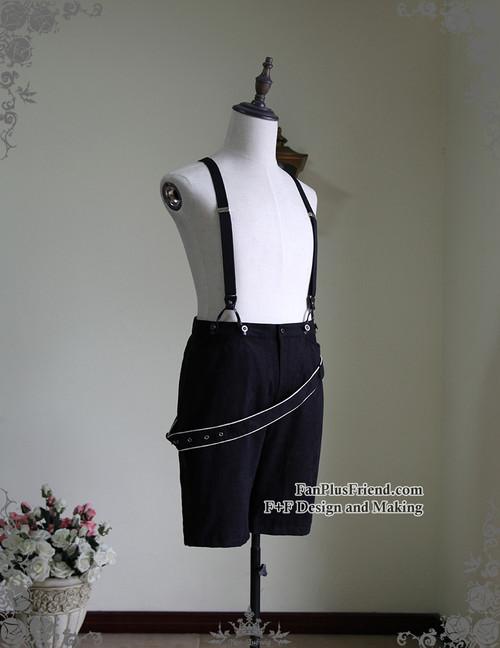 Steampunk Black Shorts Vintage Men's Suedette Shorts Suspenders Pants Shorts