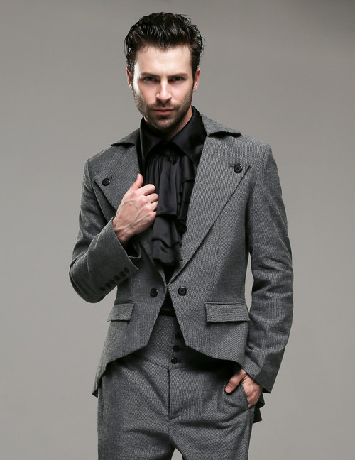 Belle Epoque, Elegant Dandy Victorian Low Neckline Coattail Jacket for Man*Man M Instant Shipping