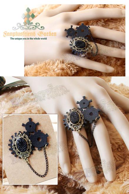 """Machine Birdcage"" Steampunk Gothic Lolita Black Crystal & Gear Wheel Ring*Free Size"