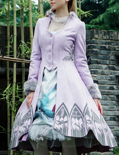 Tartarus Wall, Elegant Gothic Aristocrat False 2pcs Flocking Bottom Jacket&Fur Cuffs*4colors Instant Shipping