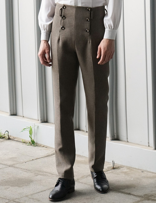 Steel Rose, Elegant Gothic Aristocrat Dandy Ouji Double Breasted Straight Pants for Man*2colors Instant Shipping