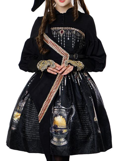 Steampunk Pirate One Strap Dress Printed Dress A Line Midi Skirt Set Black White