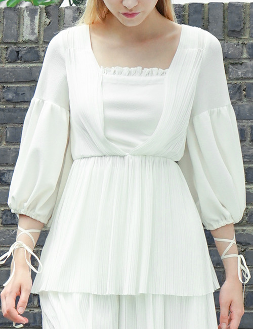 Vintage Gothic Middle Length Sleeve Shirt Top Blouse White Black