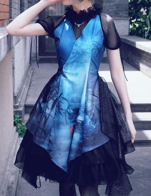 Model Show (Star River Blue Shadow Prints+ Starlight Black Gauze)