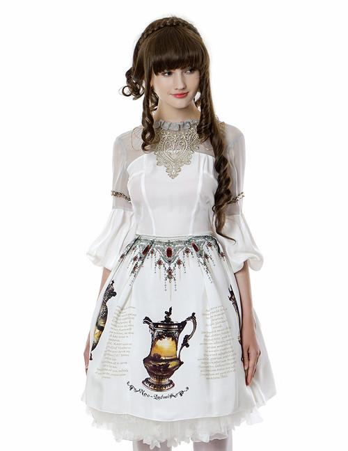 Vintage Silk Midi Dress Printed Dress Long Sleeve Dress Black Dress White