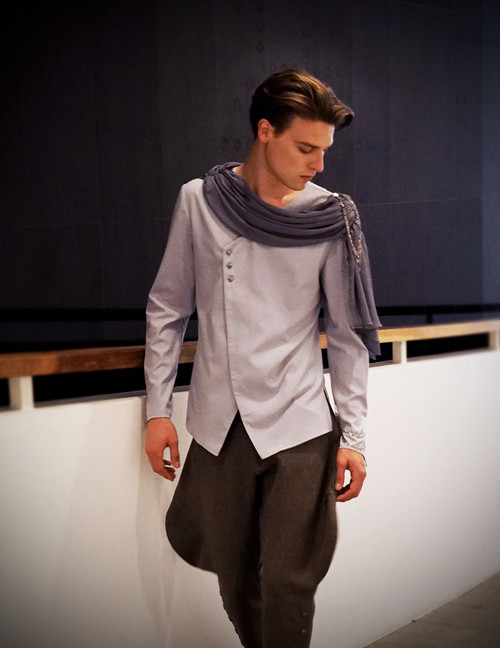 Model Show (light linen/cotton blend in light grey + grey crepe chiffon Ver.) Pants: SP00172