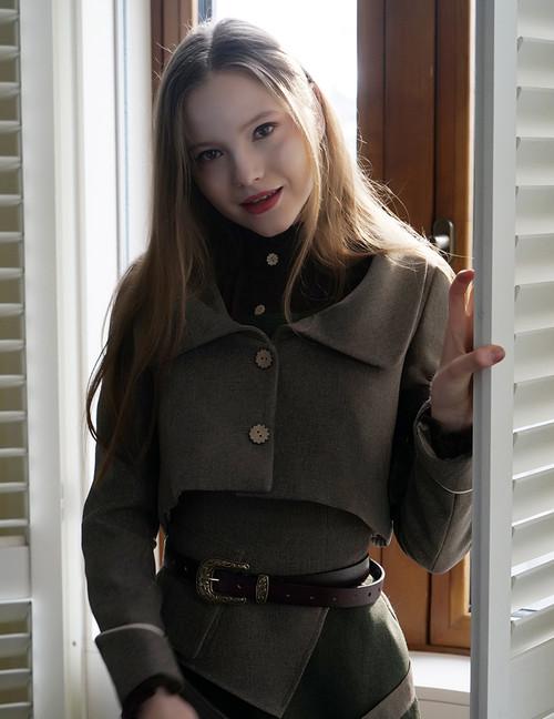 Steampunk Women's Jackets Short Tweed Jacket Leather Armband *Black Brown