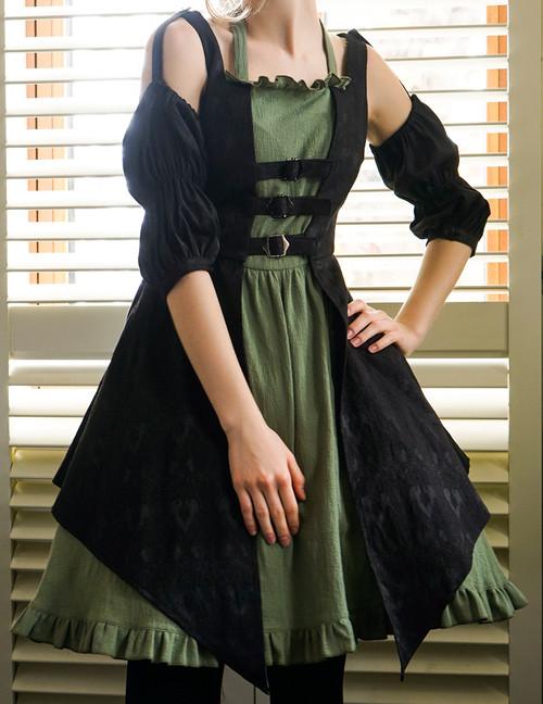 Model Show (black jacquard cotton + sage green crepe cotton ver.) (petticoat: UN00027)