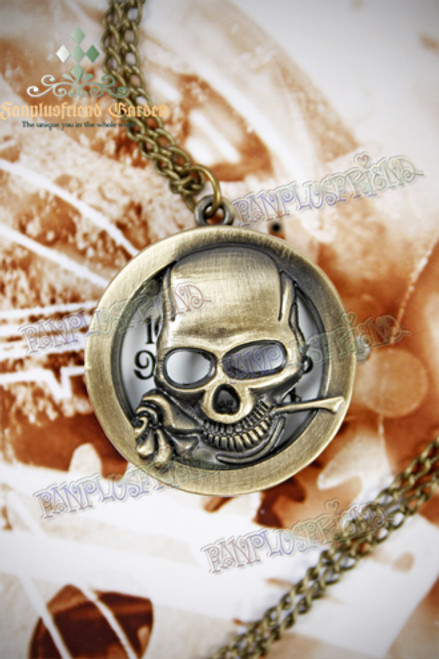Industrial Gothic for Man Pierced Skull Pattern Watch Necklace