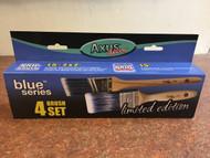 4pce Axus Decor Angled Pro Cutter & Pro Brush Synthetic Blue Paint Brush Set