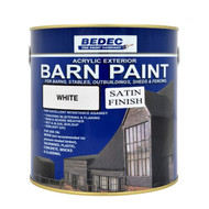 2.5lt Bedec Acrylic Exterior Barn Paint Satin White For All External Wood E982-1