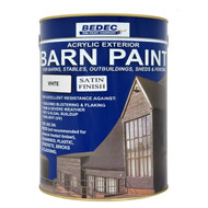 5lt Bedec Acrylic Exterior Barn Paint Satin White For All External Wood