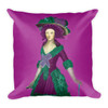 """Goya Girl"" Neoclassical Pop Art Purple and Green Throw Pillows by BWM Collection"