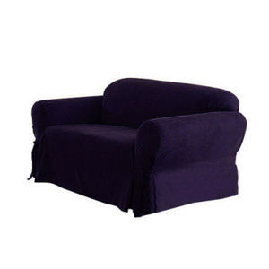 3 Pc.Slipcovers Set,Couch/Sofa+Loveseat+Chair Covers-DARK PURPLE color w/Stripes