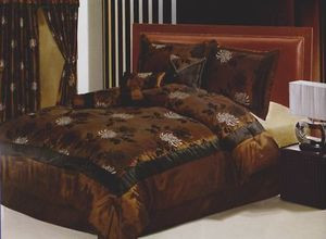 Queen Bed-in-a-Bag 11 pc. Comforter + Curtains / Drapes Set - Brown