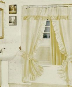BEIGE -Double Swag Fabric Shower Curtain +Valance+Liner