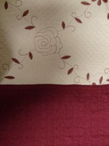 3Pc 100% Cotton KING QUILT / BEDSPREAD Beige & Burgundy