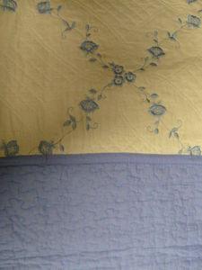 3 Pcs 100% Cotton KING QUILT / BEDSPREAD Beige & Blue