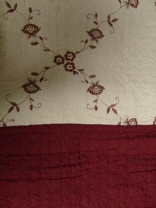 3Pc 100% Cotton KING Embroidered QUILT Beige & Burgundy