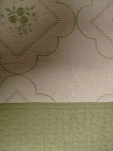 3 Pcs 100% Cotton Queen QUILT / BEDSPREAD Beige & Sage