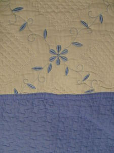 3 Pcs 100% Cotton Queen QUILT / BEDSPREAD Beige & Blue