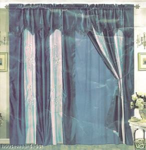 Window Curtains / Drapes with attached Valance & Liner - Blue 671