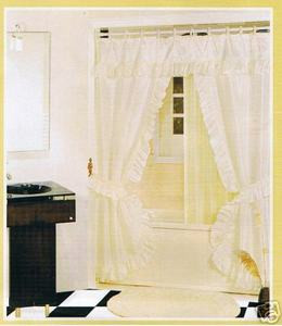 off white fabric solid double shower curtain vinyl liner orly 39 s dream. Black Bedroom Furniture Sets. Home Design Ideas