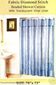 Light Blue FABRIC Diamond Stitch SHOWER CURTAIN VINYL