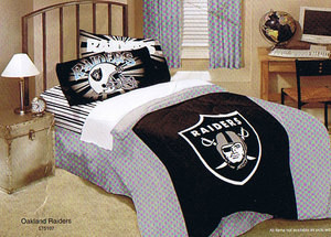 FULL/QUEEN Oakland Raiders NFL COMFORTER+SHEETS BEDDING