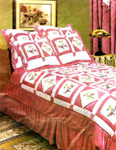 QUEEN 4pc Embroidered Velvet QUILT Bedspread Bed in a Bag